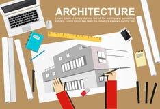 Arkitekturillustration Planlägg och model min äga Plana designillustrationbegrepp för att arbeta, uppgift, konstruktion, teckning Arkivbild