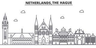 Arkitekturlinje horisontillustration för Nederländerna Hague Linjär vektorcityscape med berömda gränsmärken, stad siktar vektor illustrationer