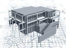 Arkitekturmodellhus med ritningen. Vektor Royaltyfri Foto
