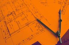 Arkitekturplanarbete Arkivfoton