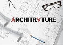 Arkitekturplanbakgrund stock illustrationer