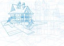Arkitekturritning - hus Royaltyfri Bild