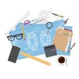 Arkitekturritningar och teknikerworkspace vektor illustrationer