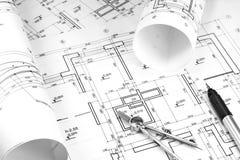 Byggnadsritningar Arkivbilder