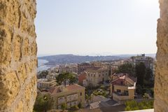 Arkitektursikt av den Naples staden från slotten Sant 'Elmo royaltyfri foto