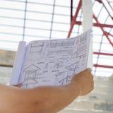 Arkitekturteckningar i hand på bakgrund för husbyggnad Royaltyfria Foton