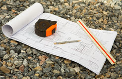 Arkitekturteckningar med blyertspennan Arkivbilder