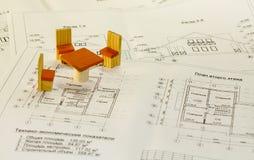 Arkitekturteckningar och plan av huset Fotografering för Bildbyråer