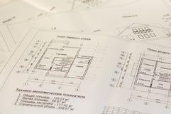 Arkitekturteckningar och plan av huset Royaltyfria Foton