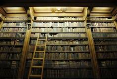Arkiv med stegen som är full av gammala biblar royaltyfria bilder