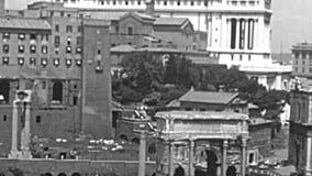 Arkivflyg- sikt av Campidoglio av Rome lager videofilmer