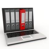 arkivmappbärbar dator Arkivfoto