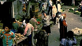 Arkivpanorama av marknaden av Betlehem lager videofilmer