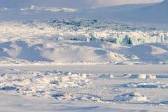 Arktische Landschaft, Gletscher und gefrorener Fjord Lizenzfreie Stockfotografie