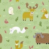 Arktische Sommernatur und -tiere Nette kindische Charaktere Vector nahtloses Muster Schablone für Gewebe, Tapete lizenzfreies stockfoto