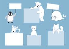 Arktische Tier-Charaktere zeigen leere Zeichen Stockfoto