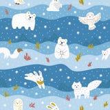 Arktische Tiere mit weißem Pelz Nettes nahtloses Muster für die Kleidung des Kindes, Gewebe Auch im corel abgehobenen Betrag lizenzfreie stockbilder