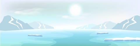 Arktischer Landschaftseisberg und Berge, Winterplakatzusammenfassung b lizenzfreie abbildung