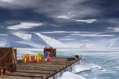 Arktisches Dock und Geschenke Stockfotos
