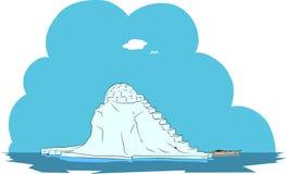 Arktisches Eis der Insel und Schneehaus Lizenzfreies Stockbild