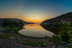 arktisk solnedgång Arkivfoto