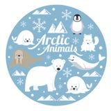Arktiska djur, etikett Stock Illustrationer