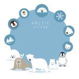 Arktiska djur och symbolsram Stock Illustrationer