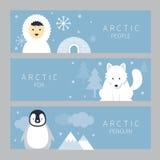 Arktiskt baner, folk, räv och pingvin Stock Illustrationer