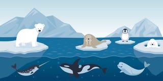 Arktiskt djurtecken och bakgrund Vektor Illustrationer