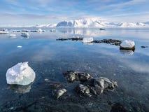 Arktiskt landskap - is, havet, berg, glaciärer - Spitsbergen, Svalbard Royaltyfri Bild