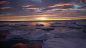 Arktiskt landskap med isberg i Grönlandicefjord med solnedgång/soluppgång för midnatt sol i horisonten Flyg- surr stock video