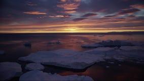 Arktiskt naturlandskap med isberg i Grönlandicefjord med solnedgång för midnatt sol stock video