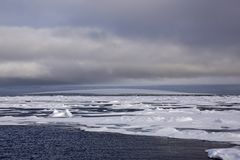 Arktyczna wyspa zakrywająca z lodowem Obrazy Stock