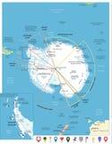 Arktycznego regionu mapa i Płaskie map ikony ilustracja wektor