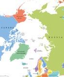 Arktycznego regionu pojedynczy stany i biegun północny polityczna mapa Zdjęcia Stock
