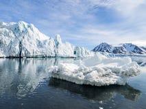 Arktyczny krajobraz Spitsbergen - lodowowie i góry - Zdjęcie Stock