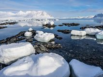 Arktyczny krajobraz Spitsbergen, Svalbard - lód, morze, góry, lodowowie - Fotografia Stock