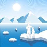 Arktyczny lisiątko z żeńskim niedźwiedziem na bloku lód, artystyczna ilustracja royalty ilustracja