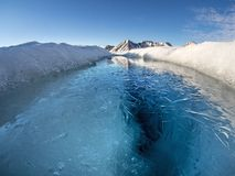 Arktyczny lodowa jeziora krajobraz - Svalbard, Spitsbergen Obraz Royalty Free