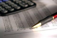 arkusz kalkulator długopisy finansowego Obraz Stock