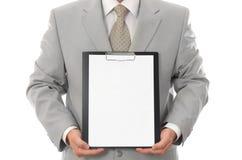 arkusze papieru biznesmena gospodarstwa pusta przestrzeń fotografia royalty free