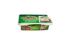 Arla Buko cream the cheese with the taste of Basil and lemon Stock Image