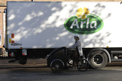 ARLA MILK PRODUCTS DELIVEEY TRUCK Royalty Free Stock Image