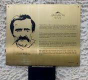 Arlamow,波兰- 2016年7月18日:在墙壁commemorat的一块匾 免版税库存照片