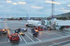 Arlanda Airport. View towards the aircraft from Terminal 4 stock photography