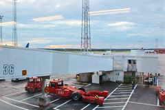 Arlanda Airport. View towards the aircraft from Terminal 4 stock photo