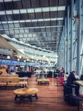 Arlanda International Airport, Stockholm, Sweden. Stockholm, Sweden - May 1, 2018: Arlanda International Airport. Shopping and restaurant area between terminals royalty free stock photography
