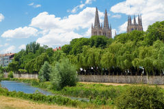 Arlanzon River with Gothic Cathedral in Background, Burgos. Spain Stock Images