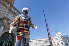 Arlequim no carnaval de Veneza Fotografia de Stock