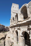 Arles Amphitheatre, Tower and Arcades. Tower and Arcades of the Roman Amphitheatre of Arles, Provence, France Stock Photo